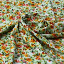 Orange Green Blossom Design - 100% Viscose Print
